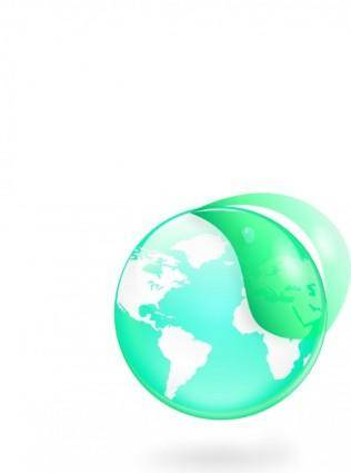free vector Environmental Eco Globe Leaf Icon clip art