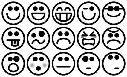 Outline Smiley Icons clip art