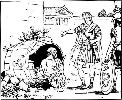 Diogenes And Alexander clip art