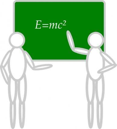 Two People Near Blackboard clip art