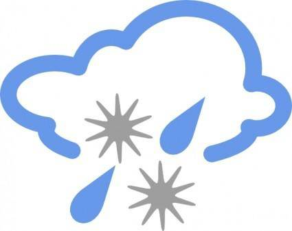 Hail And Rain Weather Symbol clip art