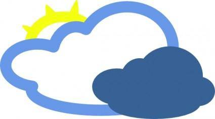 Heavy Clouds And Sun Weather Symbol clip art
