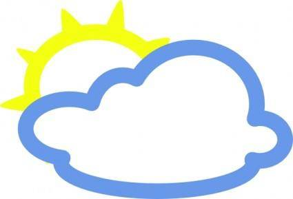 Light Clouds And Sun Weather Symbol clip art