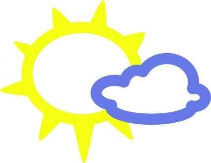 free vector Very Light Clouds And Sun  Weather Symbols clip art
