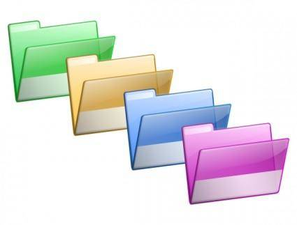 Green Yellow Blue Violet Folders clip art