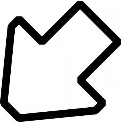 Left Down Outline Arrow clip art