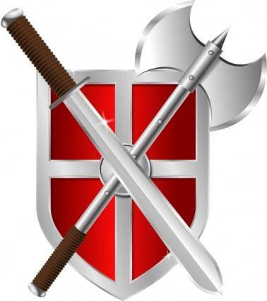 Sword Battleaxe Shield clip art