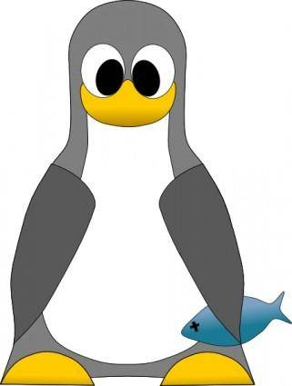 free vector Tux With Fish clip art