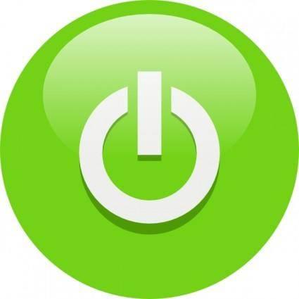 Green Power Button clip art