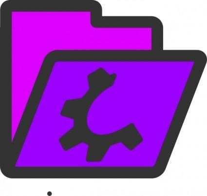 Open Violet Folder Icon clip art