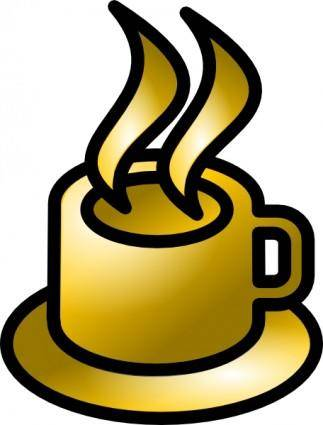 Coffee Cup Gold Theme clip art