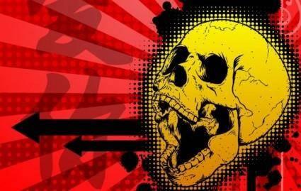 free vector Free Kanji Skull Illustration