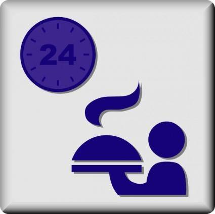Hotel Icon 24 Hour Room Service clip art