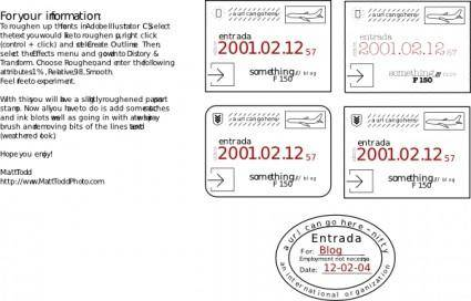 free vector Collection Of Passport Stamps (feaux) clip art