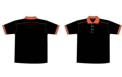 Free Black & Orange Collar T-Shirt Template