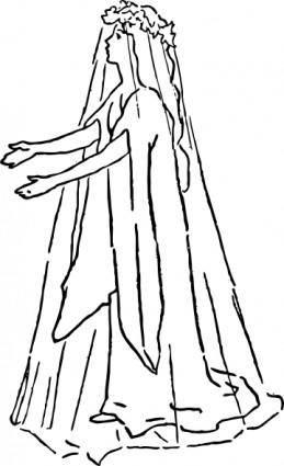 free vector Bride In A Wedding Dress clip art
