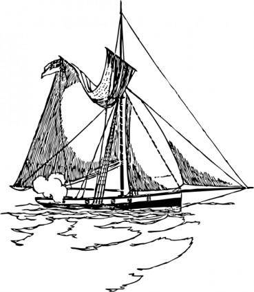 Ship With Torn Sail clip art