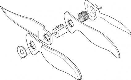 Pocket Knife Exploded View clip art