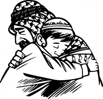Father Hug Son clip art