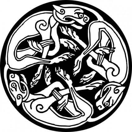 Tattoo Celtic Round Dogs clip art
