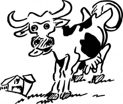 Cow And Barn clip art