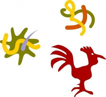 free vector Rooster Star Worms clip art