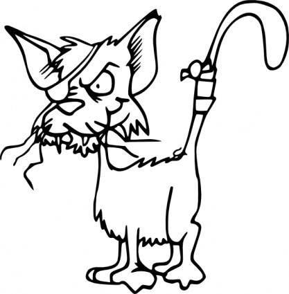 Fighting Cat Bw clip art