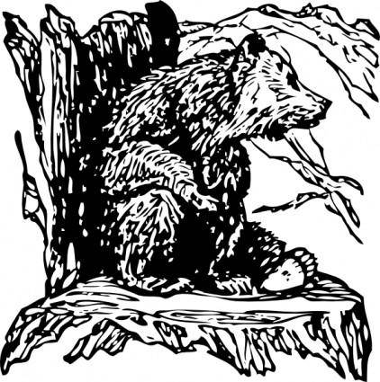 Bear On A Stump clip art