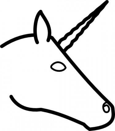 Unicorn Head Profile clip art