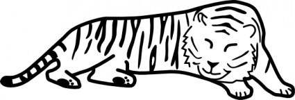 free vector Sleeping Tiger Outline clip art