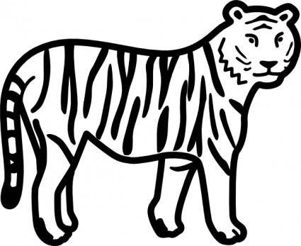 Tiger Standing Looking And Watching Outline clip art