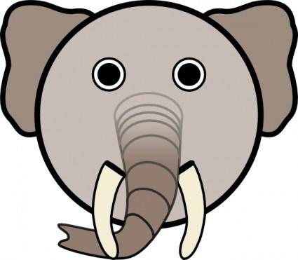 Elephant With Rounded Face clip art