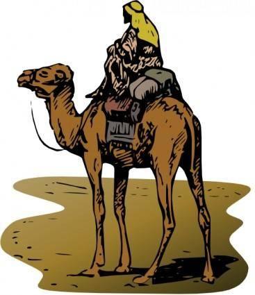 free vector Person Riding Camel clip art