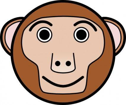 Monkey Rounded Face clip art