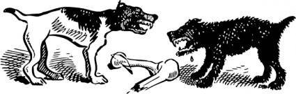 Dogs Fight Over Bone clip art