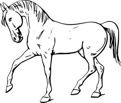 Walking Horse Outline clip art