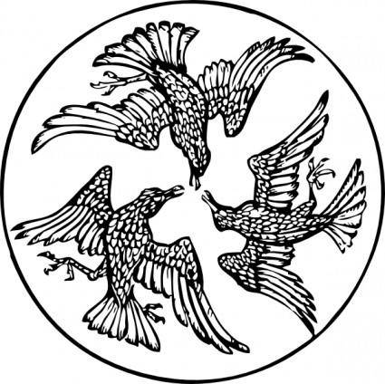 free vector Three Birds In A Circle clip art