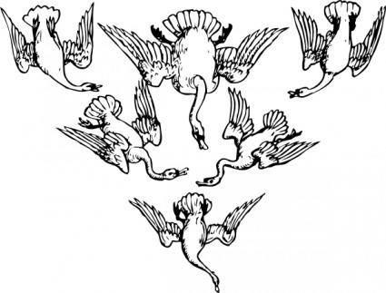 Six Geese clip art