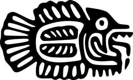 Ancient Mexico Motif Fish clip art