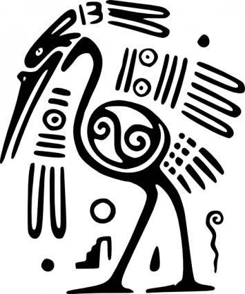 free vector Ancient Mexico Motif Bird clip art