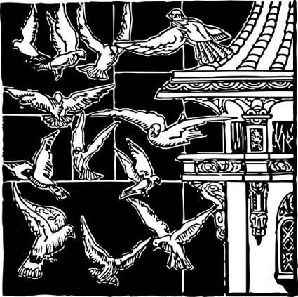 Pigeons In Flight clip art