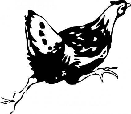 Running Hen clip art