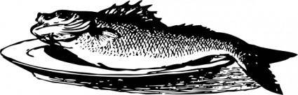Fish On A Plate clip art
