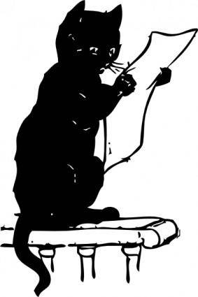 Cat Reading clip art