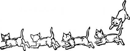 Kitties Playing Running clip art