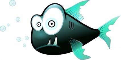free vector Cartoon Piranha Fish clip art