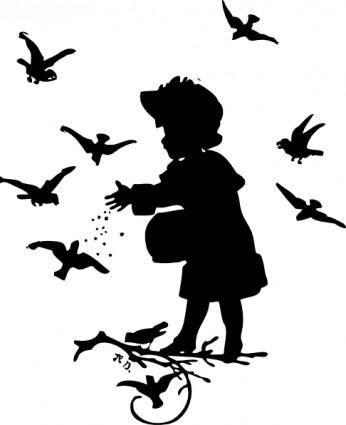 Girl Feeding Birds clip art