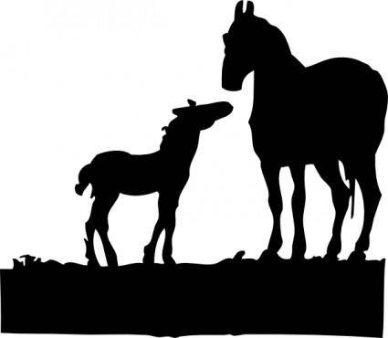 free vector Mare And Foal clip art