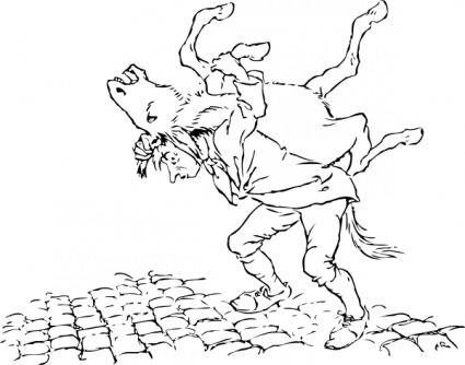 Man Carries Donkey clip art