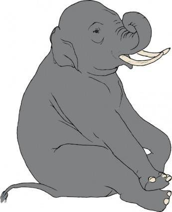 Sitting Elephant clip art